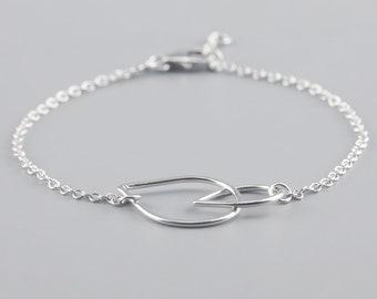 Double Drop Bracelet || Sterling Silver, Jewellery, Unique, Teardrops, Hoops, Gifts, Handmade, Jewelry, Handcrafted, Tear, Drop, Chain
