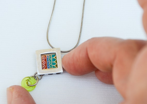 Painted silver and glass necklace Girl necklace, Stained glass necklace Ethnic painted jewelry Israeli jewelry Hand painted jewelry