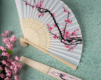 f13c3b238f9d3 30-200 Cherry Blossom Design Silk Fans - Beach Summer Wedding Party Favors  16207