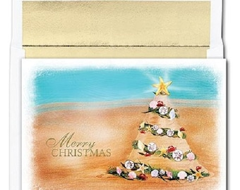 box of 18 beach tree ocean beach themed holiday christmas cards - Beach Themed Christmas Cards