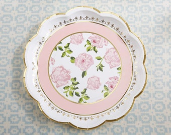 tea party plates teatime whimsy pink gold paper plates bridal shower baby shower tea party birthday party mw36672