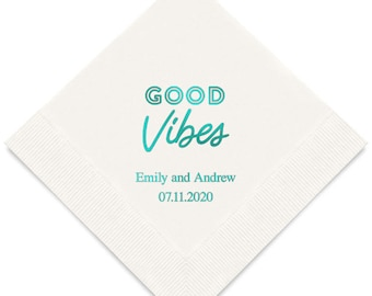 100 Good Vibes Personalized Printed Wedding Cocktail Napkins