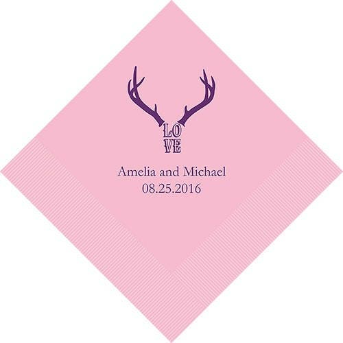 Love Antlers Personalized Printed Wedding Napkins - 3 Sizes / Multiple Colors