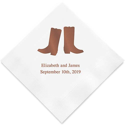 Western Boots Personalized Printed Wedding Napkins - 3 Sizes / Multiple Colors