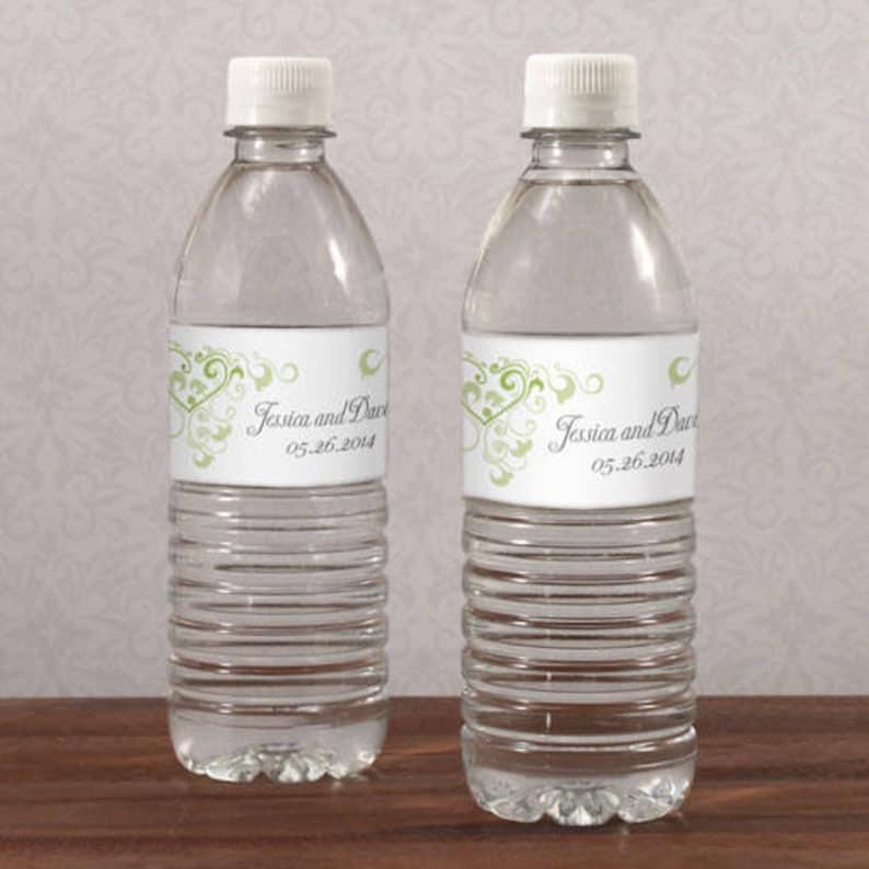 Heart Filigree Personalized Water Bottle Labels Wedding Favors