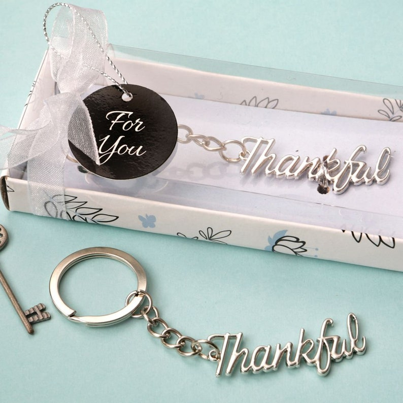 Gold Or Silver Thankful Keychains Bridal Shower Wedding Favors