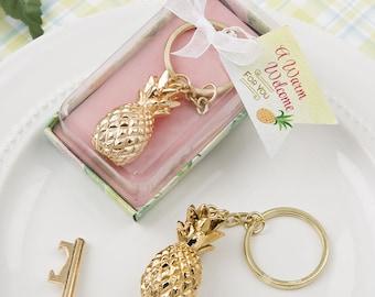 Warm Welcome Gold Pineapple Design Keychain Bridal Shower Wedding Favors