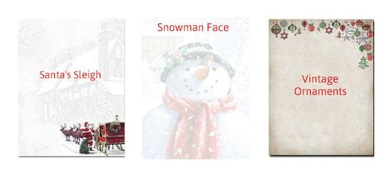 25 or 80pk Winter Scene and Sled Winter Christmas Stationery Letterhead