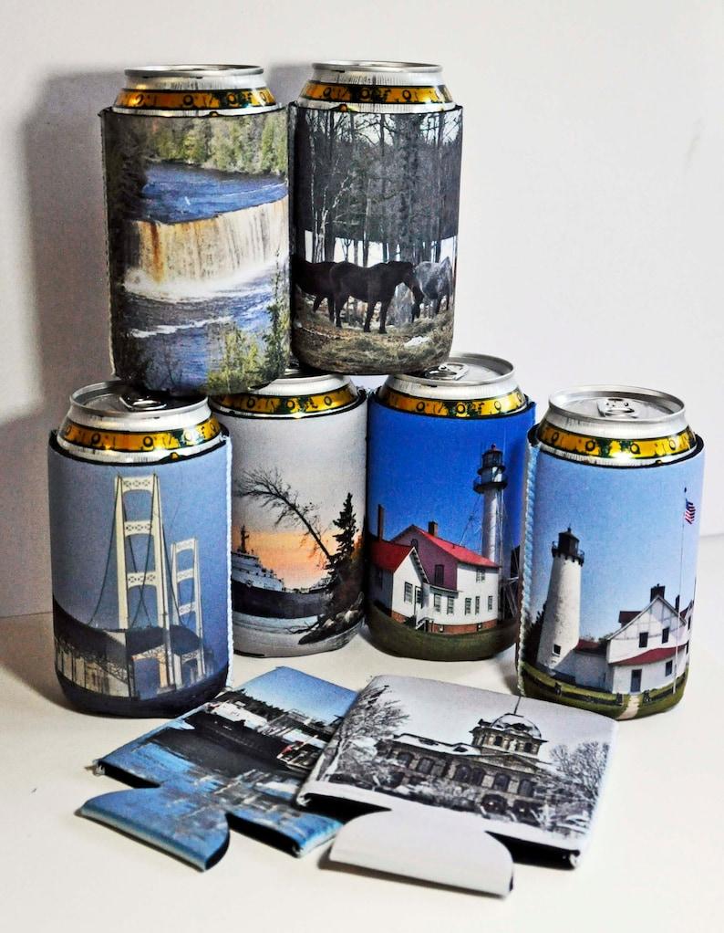6 Custom cozies can bottle beer insulator  photo man cave image 0