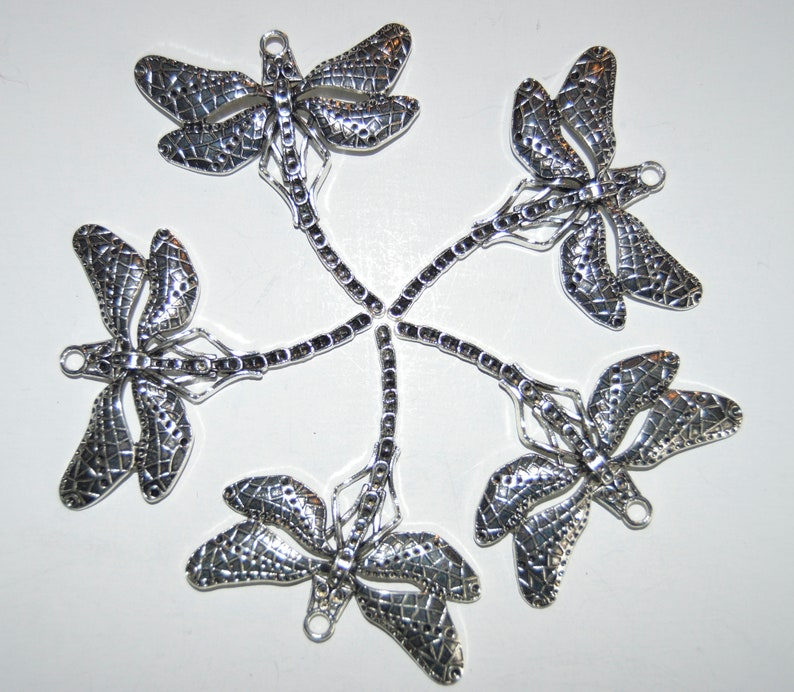 5 Large silver Dragonflies supplies findings stampings charms beads dragon fly stamping pendant jewelry supply art
