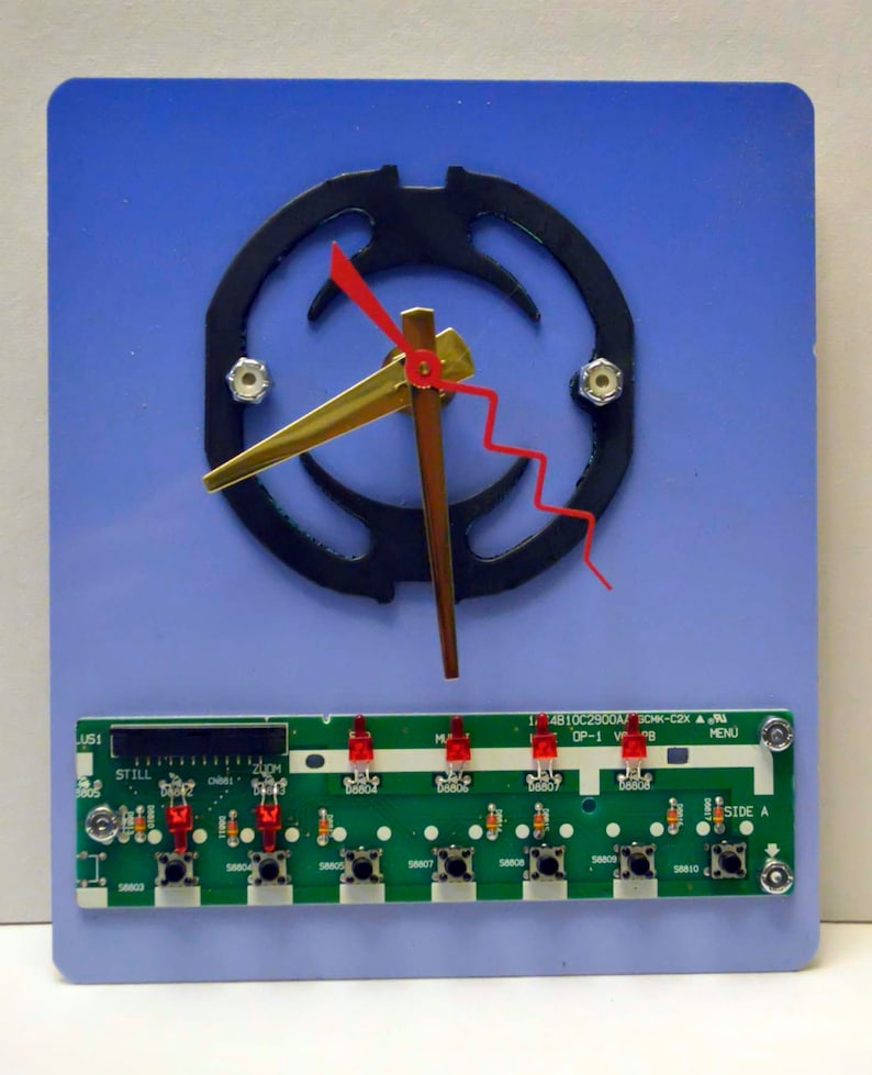 Blue steampunk techi recycled art wall clock circuit board aluminum scrap  one of a kind artist signed from Michigan