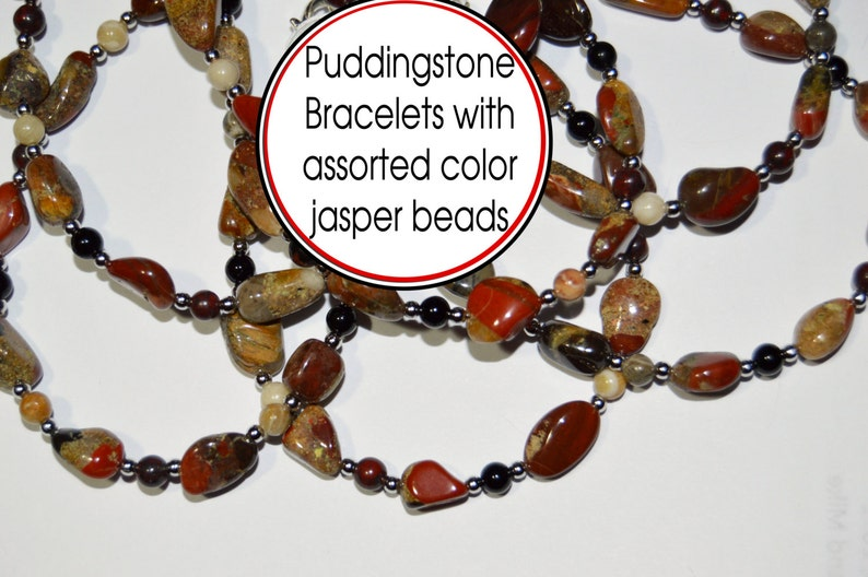 Puddingstone  beaded bracelet created just for you. Pudding image 0