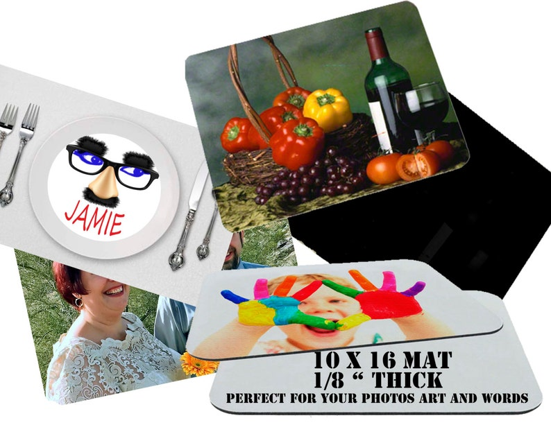 Custom placemat  10 x 16 or 12 x 18 non slip your photos text image 0