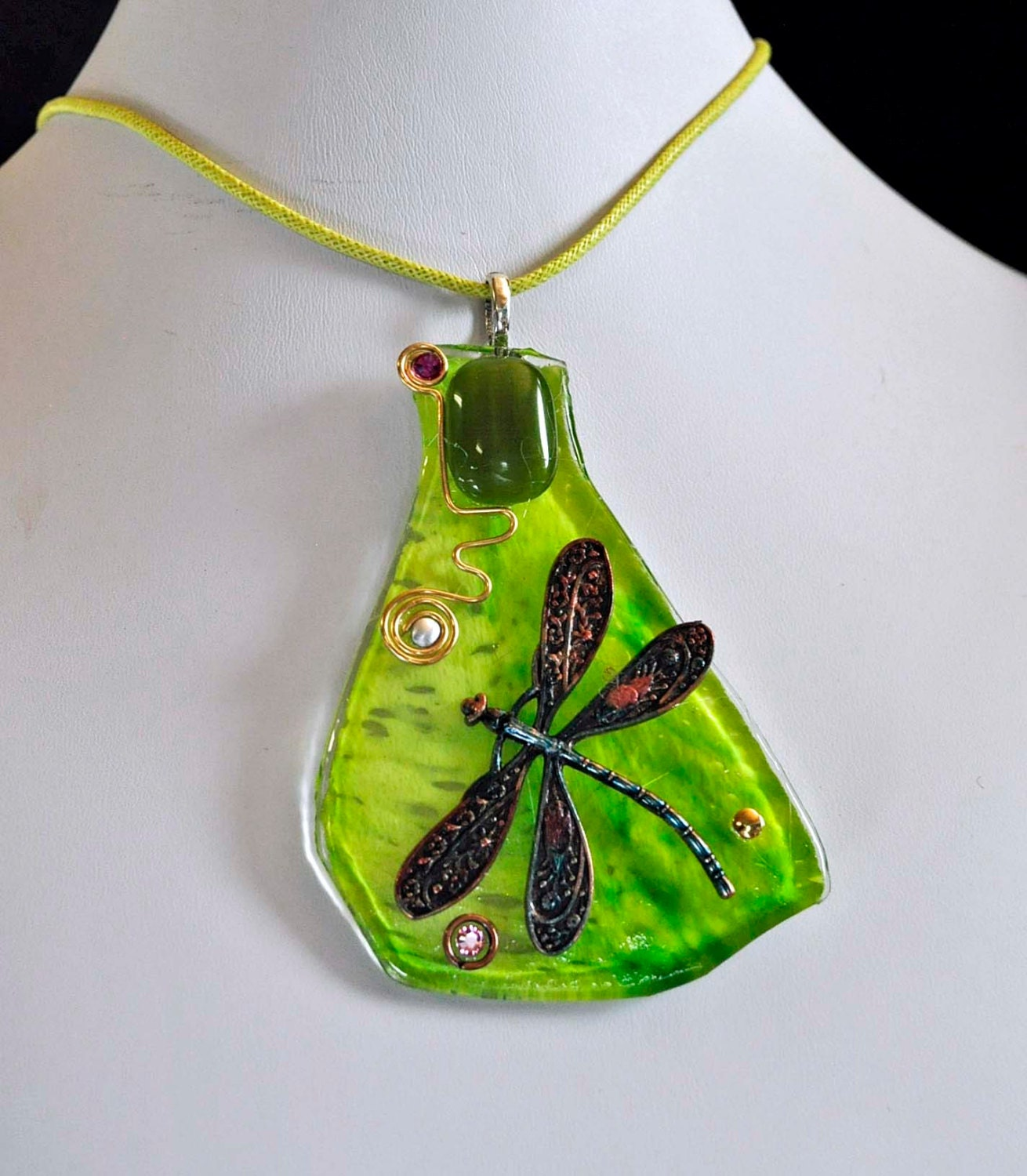 Dragonfly Lime Green Recycled Slumped Art Glass Pendant Etsy Circuit Board Jewelry Earrings Steampunk Vintage Wire Wrapped Necklace Eco Friendly One Of A Kind Artist Made In Michigan