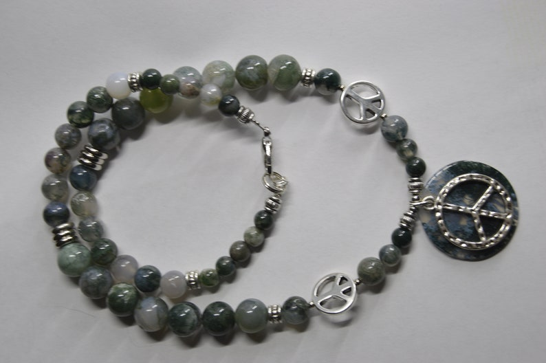 Moss Agate gemstone beaded Necklace and adjustable bracelet jewelry set with silver peace signs handcrafted classic with a twist