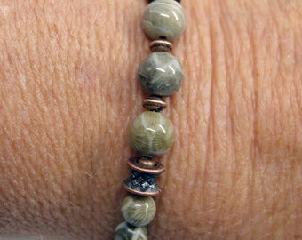Beaded jewelry stone fossil bracelet Michigan  Petoskey Favosites with copper handmade