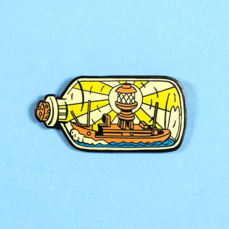 Lightship In A Bottle pin badge image 0