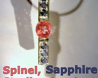 Bright Pink Spinel and Blue Sapphire Handmade Sterling 925 Silver Ladies Pendant