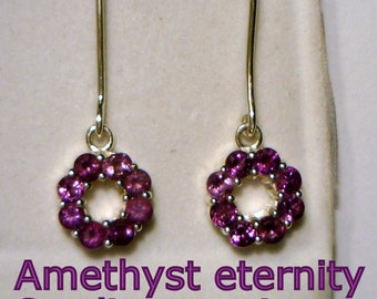 Purple Amethyst Handmade Sterling Silver Eternity Circle Dangle Ladies Earrings