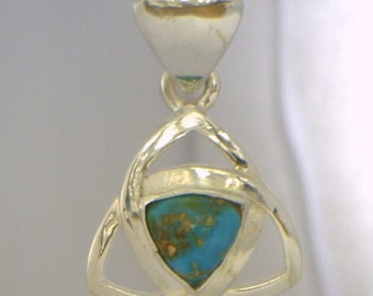American Untreated Turquoise Handmade Sterling Silver Trillion Infinity Pendant