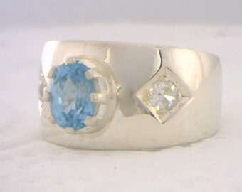 Blue Zircon and White Zircons Handmade Sterling Silver Gents Ring size 9.25