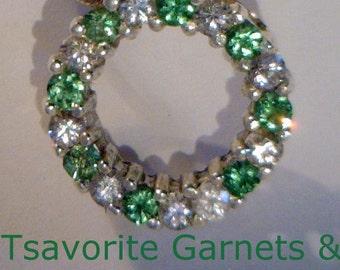 Green Tsavorite Garnets and Sapphires Handmade Sterling Silver Eternity Pendant