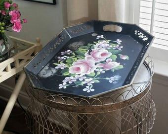 vintage tole floral tray