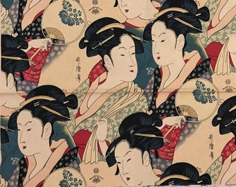"""13"""" x 43"""" Alexander Henry Sisters of the Golden Temple Geisha Japanese Cotton Quilting Fabric Remnant - Out of Print"""