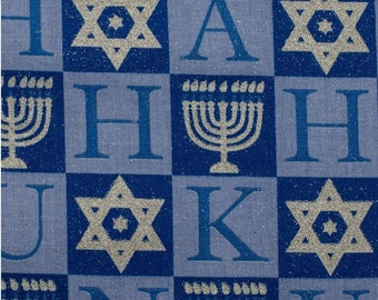 By the HALF YARD Gorgeous Menorah Star of David Blue & Silver Glitter Chanukah HANUKKAH Cotton Quilt Fabric