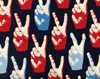 """13"""" x 43"""" Alexander Henry Peace Cotton Fabric Retro Red White Blue Cotton Quilting Fabric Remnant - Out of Print 2005"""