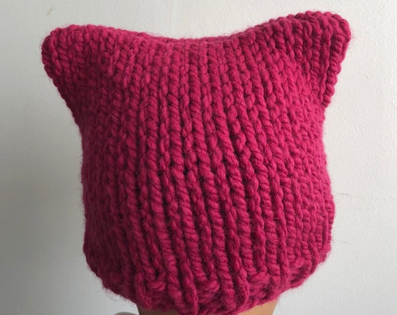 Pink Pussy Cat Hat in Raspberry Pink for Child