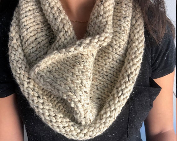 Simple Knit Cowl in Oatmeal