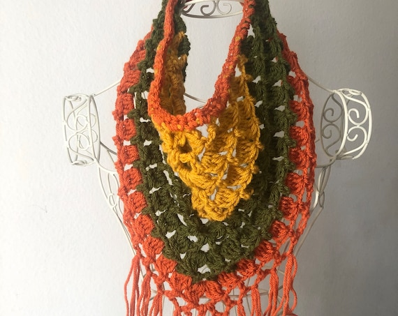 Festival Fringe Scarf in Mustard, Olive, and Orange