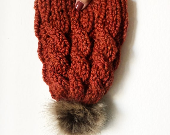 Rusty Orange Cable Knit Beanie