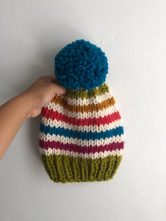 Multicolored Striped Slouchy Beanie with Pom Pom