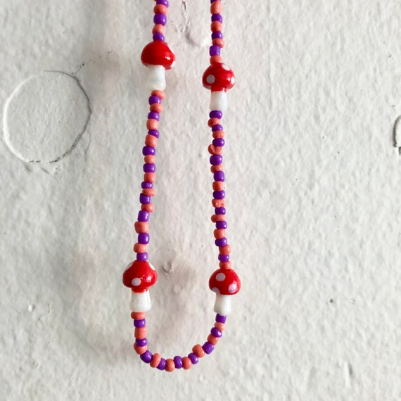 Mushroom Beaded Choker Necklace in Purple and Peachy Pink