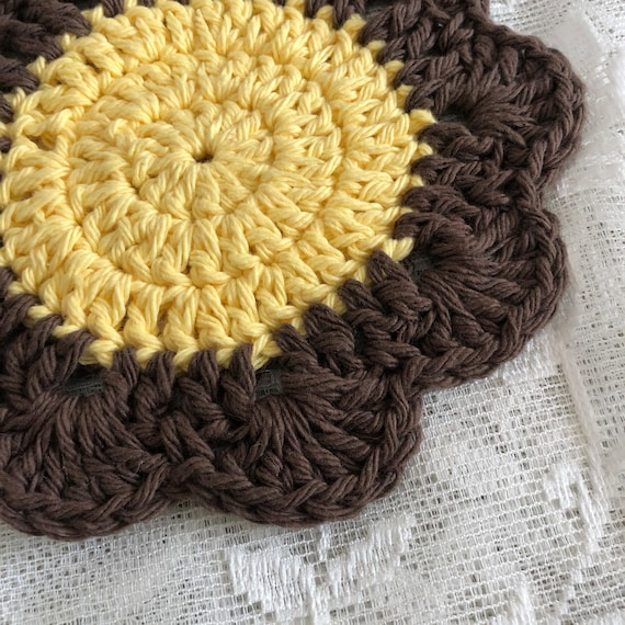Brown and Yellow Flower Coaster