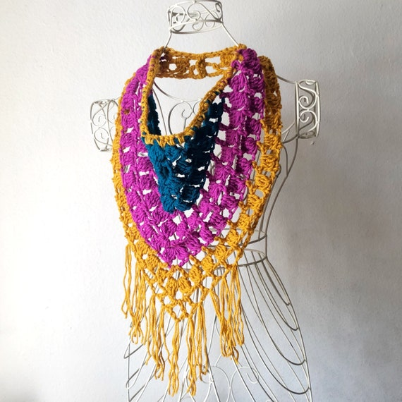Festival Fringe Scarf in Magenta, Teal and Mustard