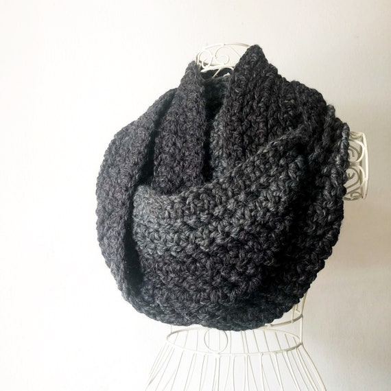 Super Long Infinity Scarf in Gray and Black