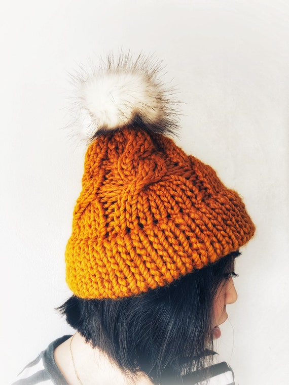 Butterscotch Double Brim Cable Knot Beanie with Pom Pom