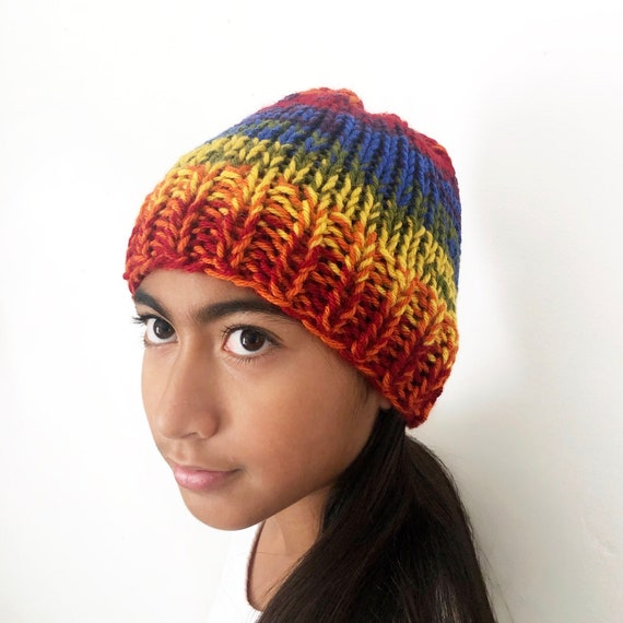 Rainbow Beanie for Kids One of a Kind