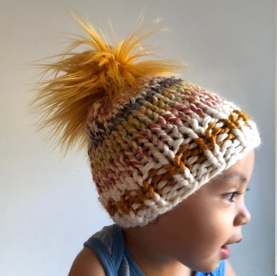 Autumnal Sock Monkey Beanie Infant/Toddler Size