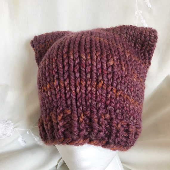 Multi Colored Cat Ear Beanie for Adults
