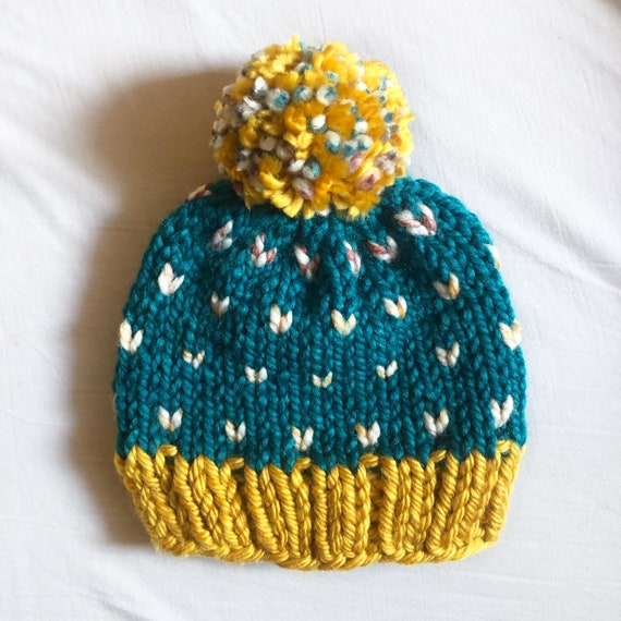 Teal and Gold Heart Beanie for Kids