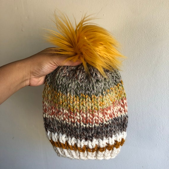 Autumnal Sock Monkey Beanie for Adults