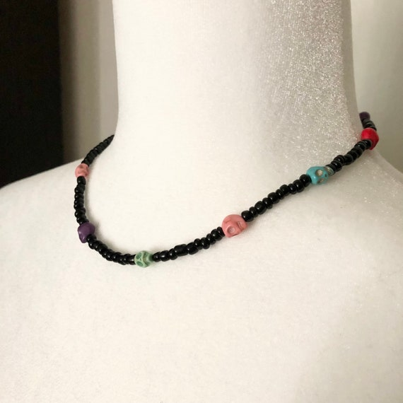 Black Bead and Multi Color Skull Choker Necklace