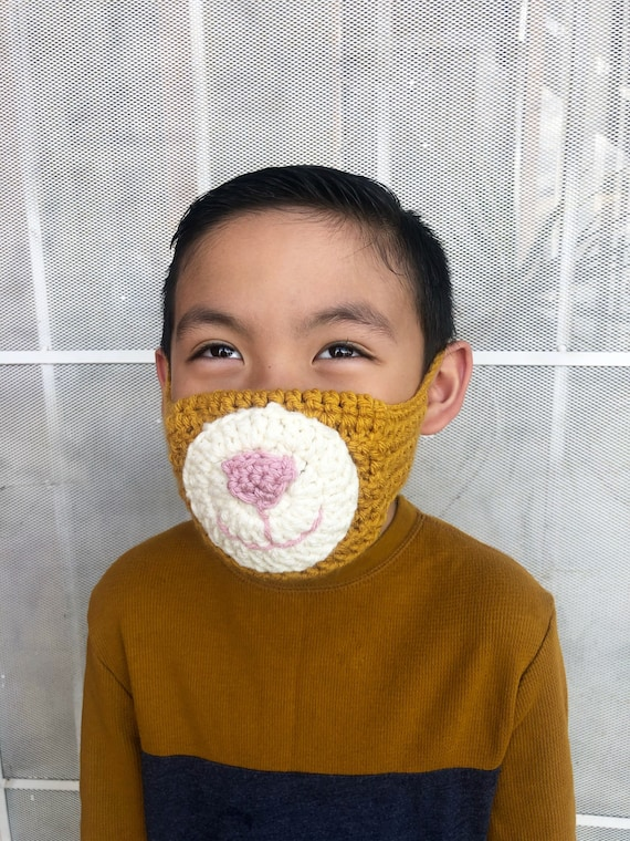 Mustard Yellow Bear Face Mask for Kids