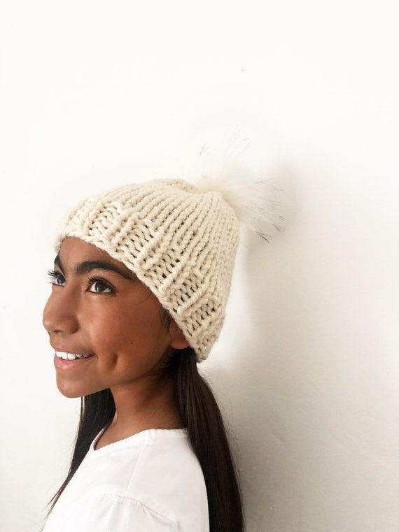 Cream Winter Beanie with Gold Thread and White Pom