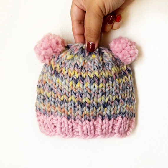 Cotton Candy Teddy Bear Beanie
