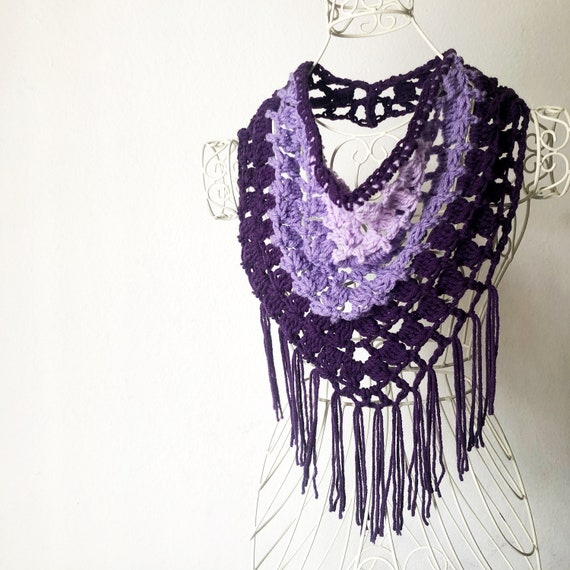 Festival Fringe Scarf in Lots of Purple